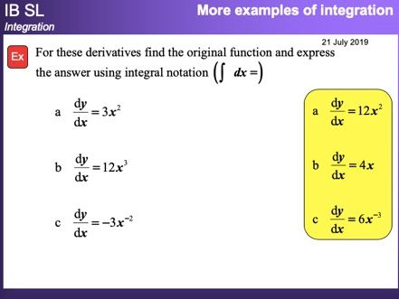 IB Mathematics SL - Integration (2018-2019)