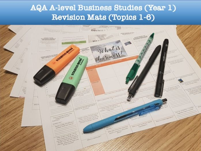 Printable Revision Mats for AQA A-level Business Studies (Year 1)