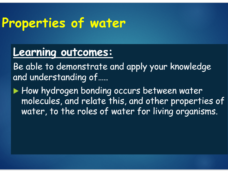 OCR A Level Biology (H020 - from 2015) 2.1.2 Properties of water