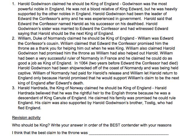 "Year 7 Autumn 1 homework booklet ""Medieval England 1066-1485' HISTORY KS3"