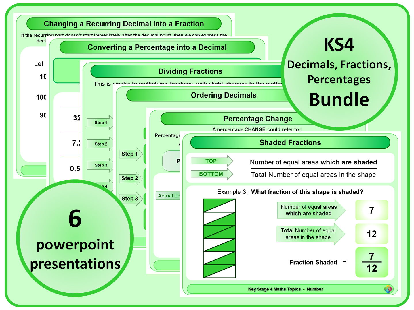 KS4 Decimals, Fractions, Percentages BUNDLE