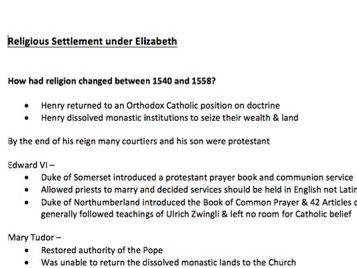 Religious Settlement under Elizabeth I Notes - A-Level History TUDORS 1485-1603