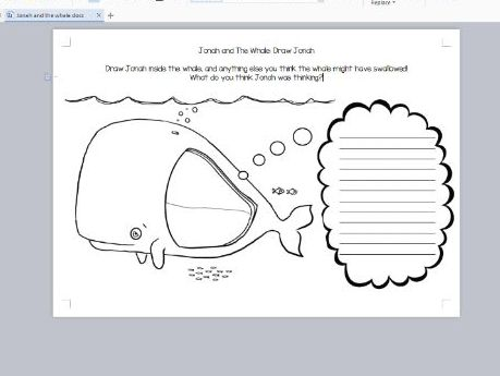 Re Jonah And The Whale Ks1 Sen Worksheet Hand Drawn