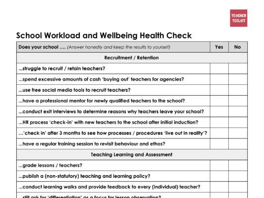 A Workload and Wellbeing Checklist by @TeacherToolkit