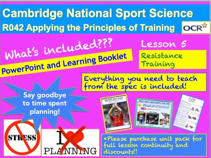 Cambridge National Sports Science R042: Resistance Training