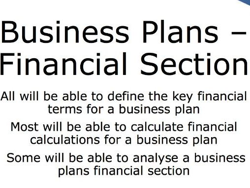 Business Plans - Financial Section