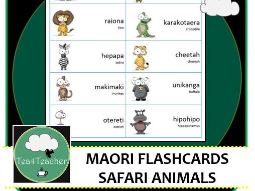 Maori Language Flashcards - Safari Animals