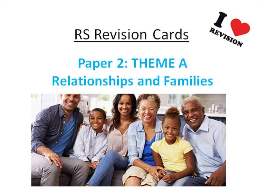 REVISION CARDS - AQA A GCSE RS - Paper 2: Relationships & Families