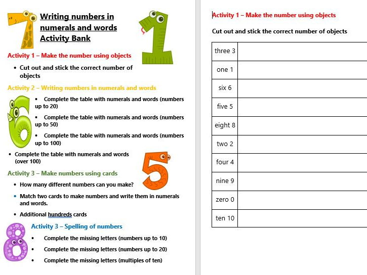 Writing numbers in numerals and words Activity Bank (Differentiated)