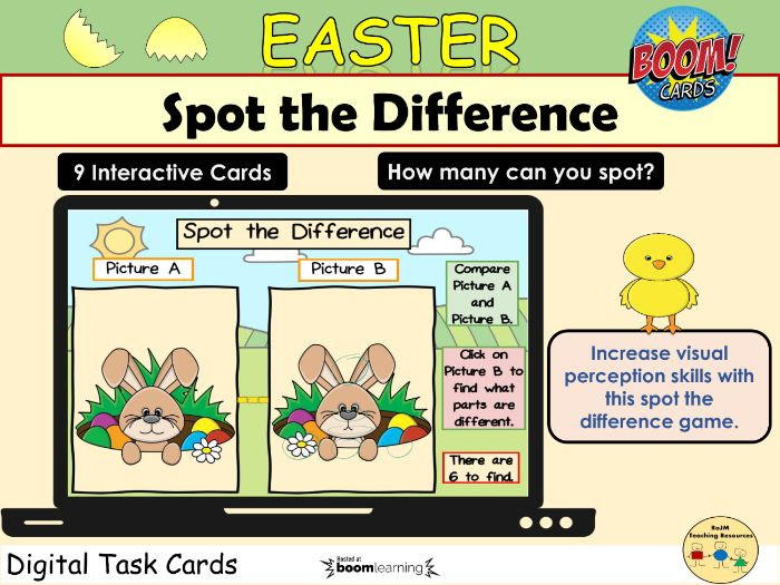 Easter Spring Spot the Difference Pictures Visual Perception BOOM Cards™