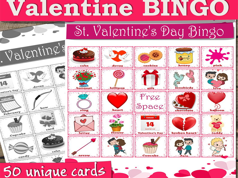 Valentine BINGO with 50 unique Valentine cards for a game