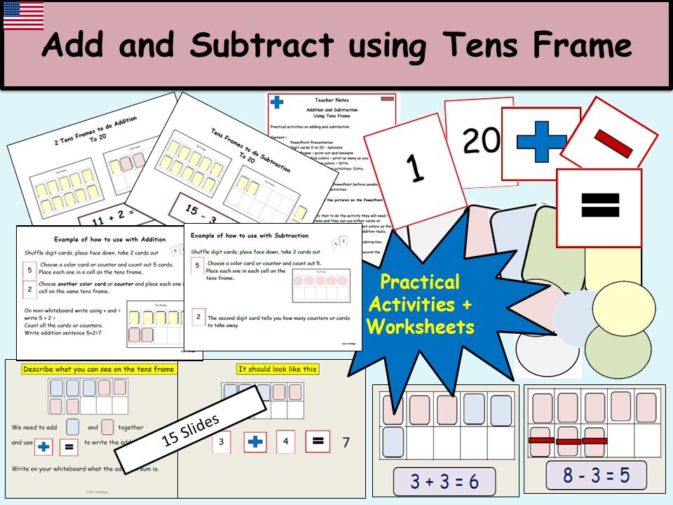Addition/Subtraction (1-20) Presentation, Tens Frame, Practical ...