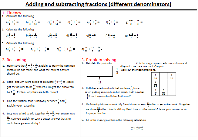 Fractions - mastery worksheets