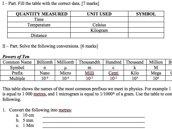 Measurements (Review test)