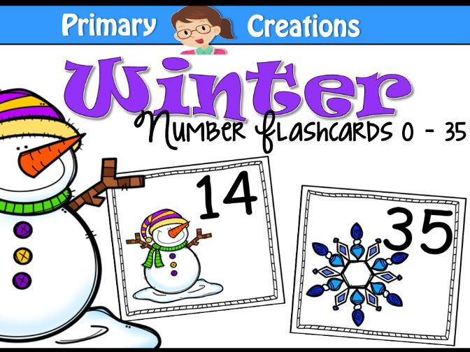 Winter Number Flashcards 0 -30 (UK)
