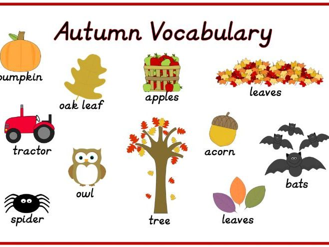 Autumn Vocabulary Topic Words Mat