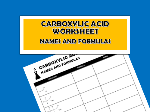 Carboxylic Acid Worksheet