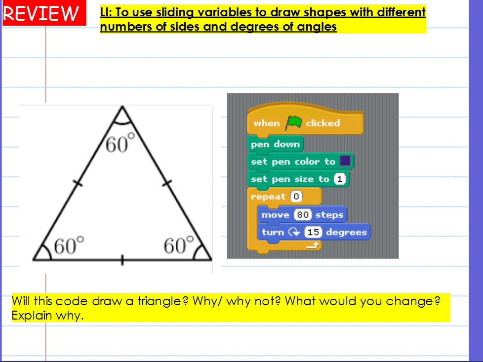 KS2 Computing Planning - Scratch drawing shapes and shape patterns - complete unit of work
