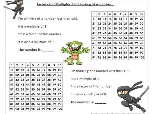 Year 5 /6 Factors and Multiples - Differentiated worksheets