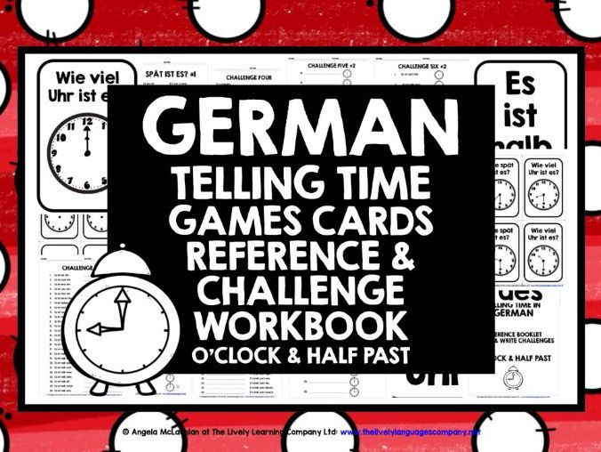 GERMAN TIME GAMES CARDS & WORKBOOK O'CLOCK & HALF PAST