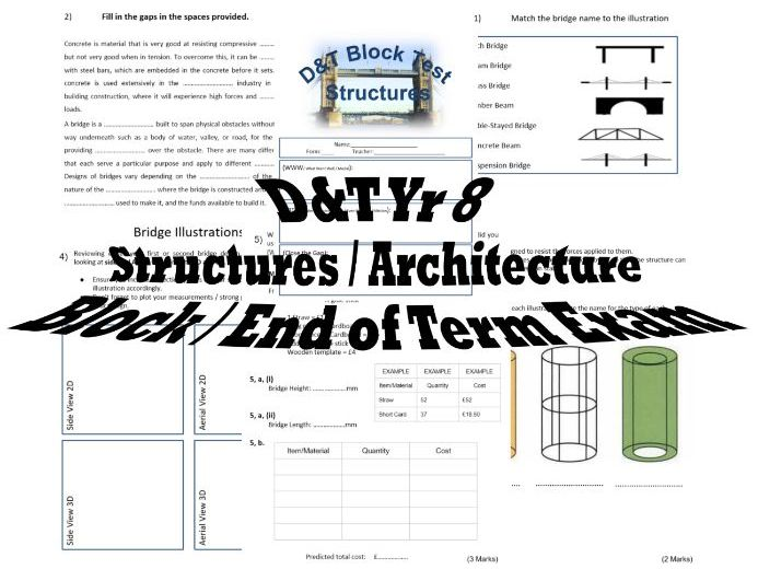 DT - Yr 8 Structures - Architecture - Block exam – PDF Version