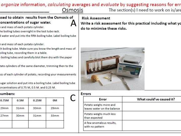 Osmosis Required Practical Revision /Homework Questions with Answers