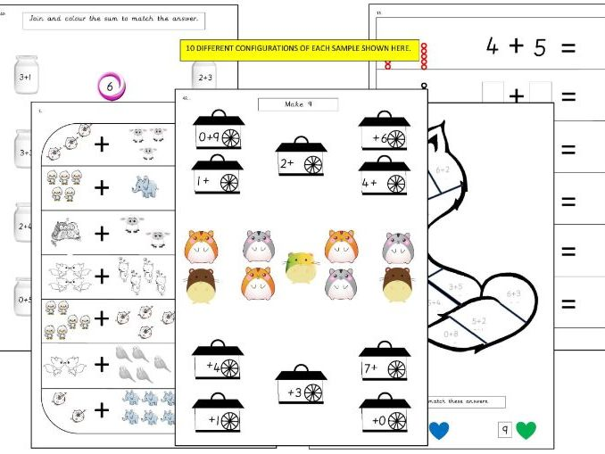 1-50 of 100 Addition within 10 Activity Sheets
