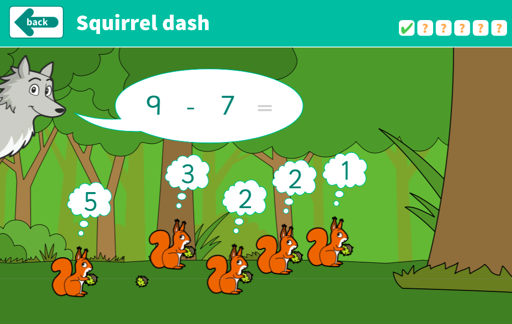 Subtraction to 10 - Squirrel Dash Interactive Game - KS1 Number