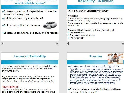 VALIDITY & RELIABILITY full lessons and homework exam questions.  AQA Psychology research methods.