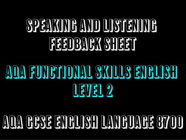 AQA GCSE English Language Functional Skills Speaking and Listening Feedback Sheet