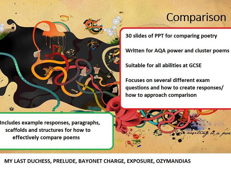 Comparing poetry power and conflict (how to compare/ answer exam) - AQA, mini scheme, 30 slide PPT
