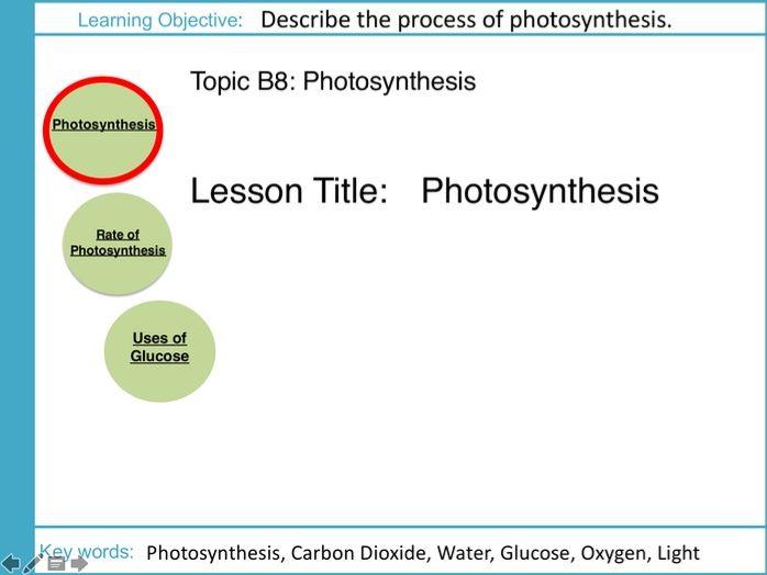 AQA GCSE: B8 Photosynthesis: L1 Photosynthesis