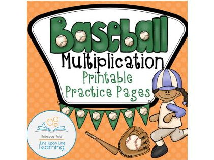 Multiplication Practice Times Tables Printables -- Baseball