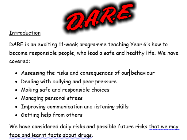 Year 6 DARE report template