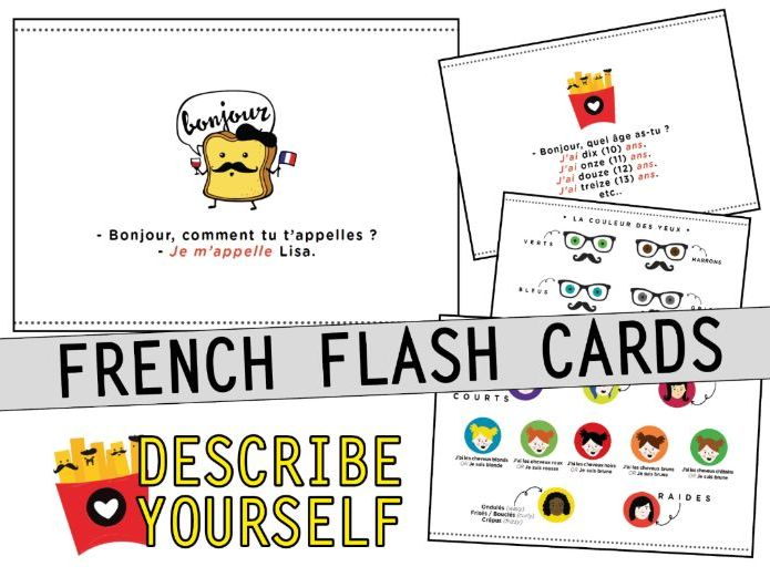 French Activity Flash cards - Identity Describe yourself - GAME Y7 Y8