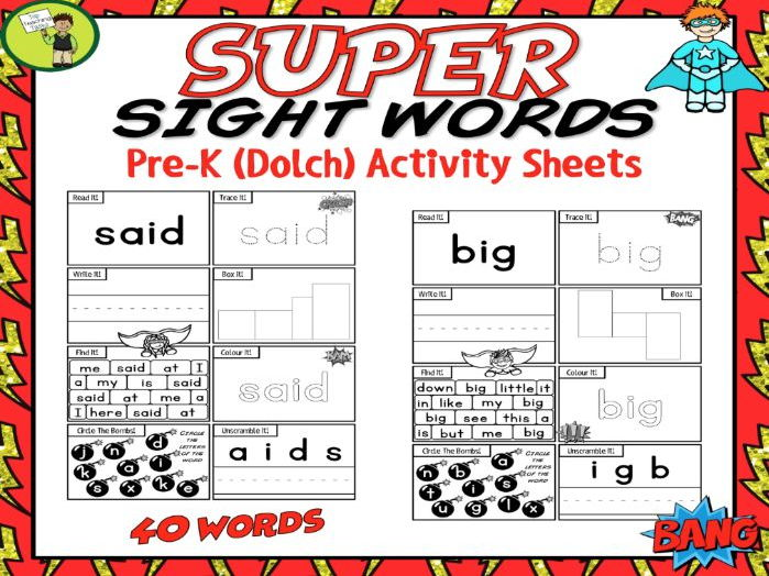 40 PreK SUPER Sight Word Practice (Dolch) Printables