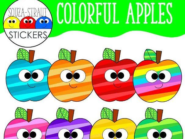 Colorful Striped Apples Clip Arts