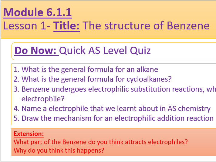 A Level Chemistry OCR A- 6.1.1 Lesson 1-The structure of Benzene
