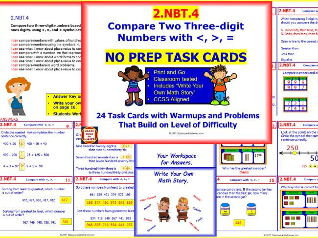 2.NBT.4 Math NO PREP Task Cards— Compare Two Three-digit Numbers with , =