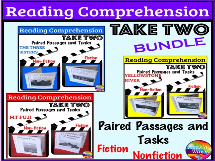 Reading Comprehension Paired Texts and Activities BUNDLE for Primary Students Topic