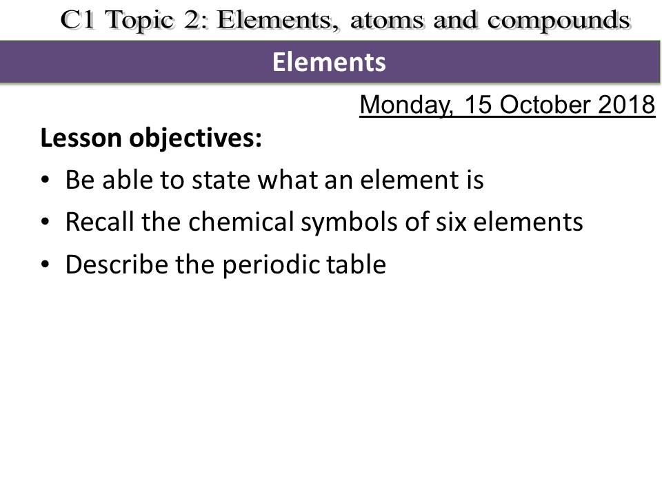 Activate 1 KS3 Chemistry Chapter 2 Elements