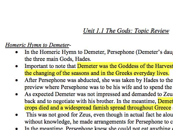 Unit 1.1 Myth and Religion - Notes OCR Classical Civilisation GCSE