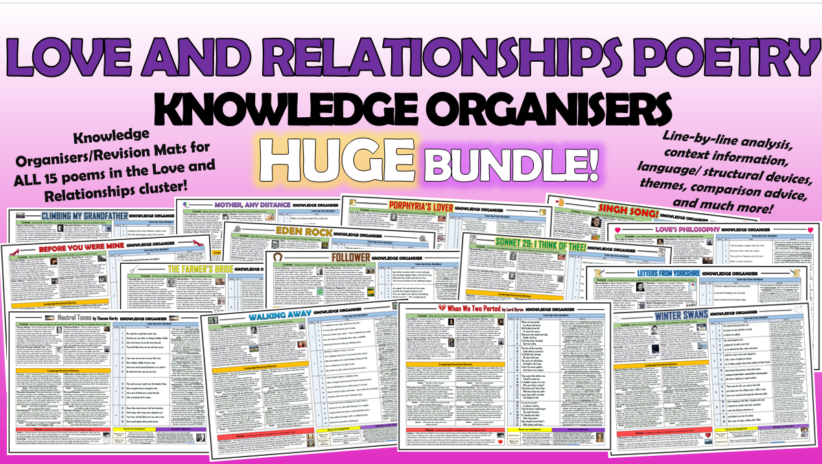 Love and Relationships Poetry Knowledge Organisers Huge Bundle!
