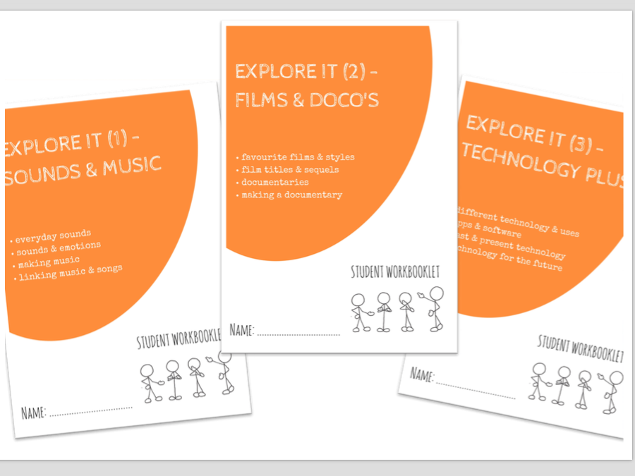 LITERACY bundle - EXPLORE IT - sounds, music, film, technology, apps  x3 workbooklets