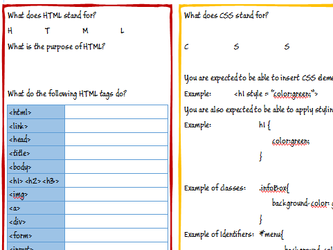 A Level / GCSE (9-1) Computer Science Revision Worksheet - HTML, CSS,  Javascript