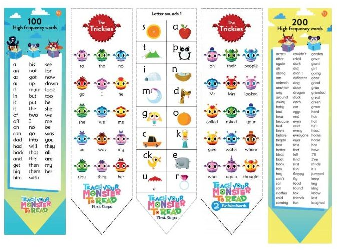 Bookmarks with sight words and GPCs - Teach Monster