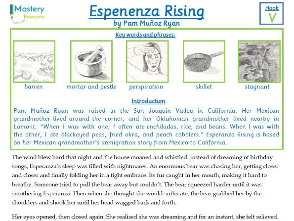 Esperanza Rising by Pam Munoz Ryan Comprehension KS2