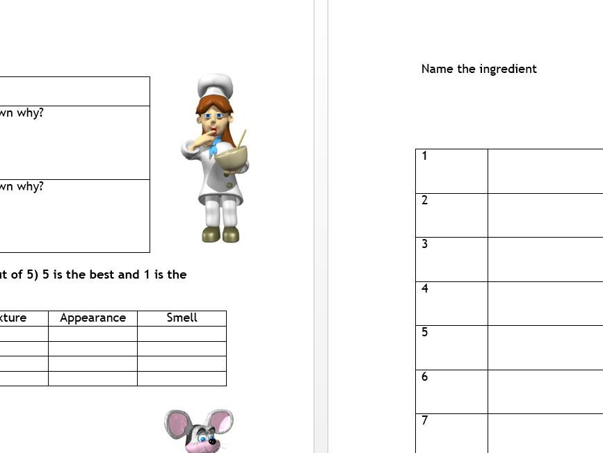 GCSE Food and Nutrition bundle for sensory analysis