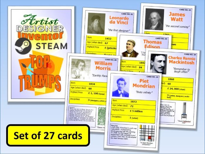 STEM STEAM Artists Designers & Inventors Top Trumps Card Game set of 27