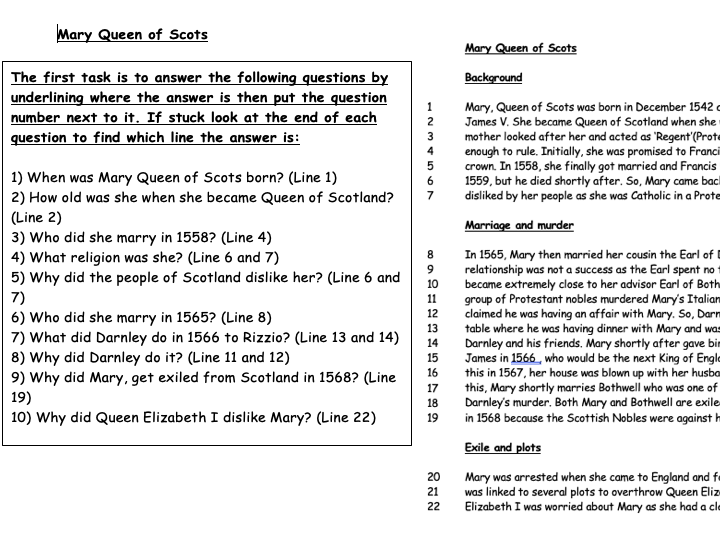 Mary Queen of Scots more scaffolded worksheet